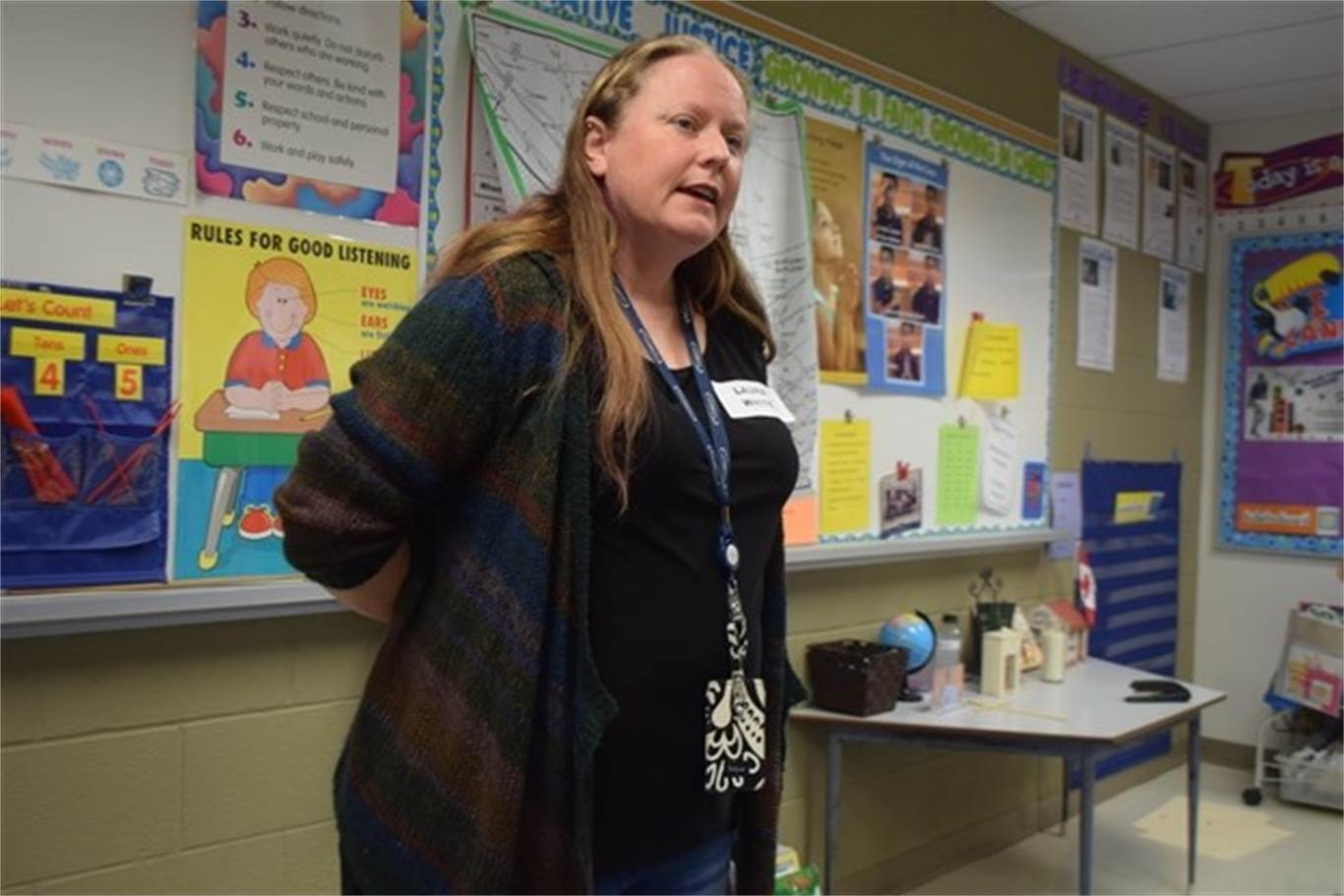 Guest speaker Laura White answers questions from students about being an air traffic controller during St. Luke Catholic Elementary School's fourth career day on May 3. Photo by Laura Lennie, Stoney Creek News.