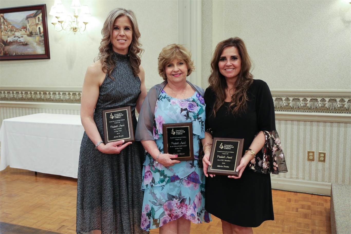 From left to right, Anna Boyle, Karen Moyer and Maria Trotta were presented with the President's Award to Teacher of the Year, President's Award to a CEC Member, and President's Award to an Educational Leader, respectively, at the Council for Exceptional Children's annual