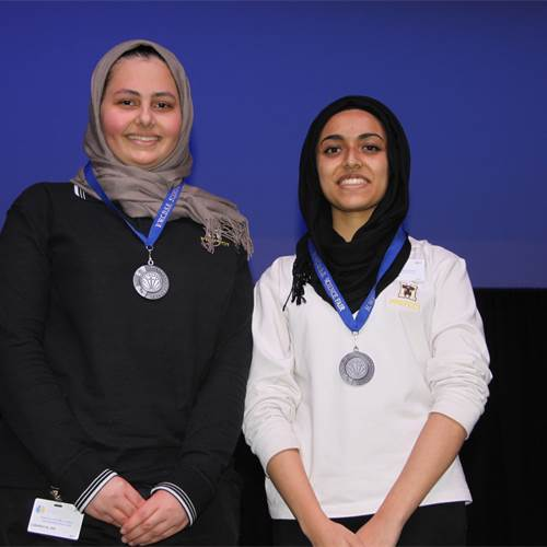 "Lubabah Al-Ani and Maisha Ahmed were the only secondary students participating in this year's System Science and Engineering Fair. The two, Grade 12 students at St. Thomas More Catholic Secondary School, earned a silver medal for their project, ""A Study to Remember."""